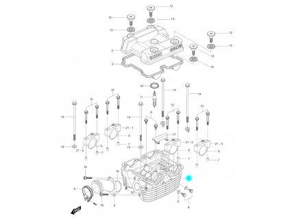 [1] Hlava válce včetně ventilů (hlava zadního válce) - Hyosung GV 250
