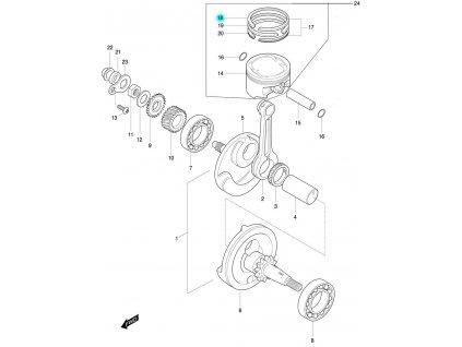 [18] Pístní kroužek 1ST / verze DLX (FIG07) - Hyosung 450 Sport