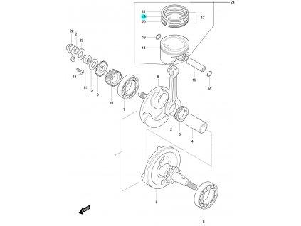 [19] Pístní kroužek 2ND / verze DLX (FIG07) - Hyosung 450 Sport