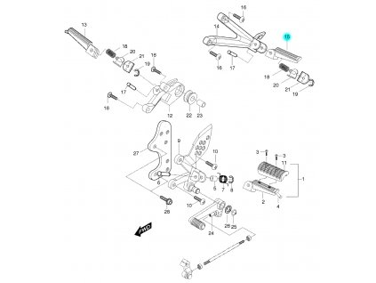 [15] Stupačka zadní levá kompletní (řadící páka & stupačky) - Hyosung GT 650 S & R