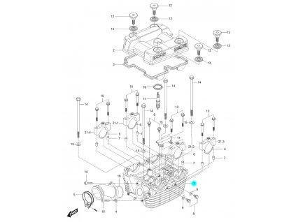 [1] Hlava válce / EURO 2 (hlava zadního válce) - Hyosung GT 125 N