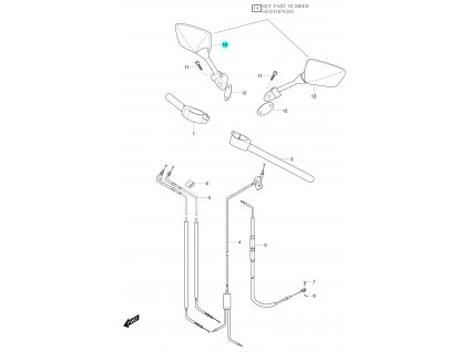 [10] Zrcátko pravé (řidítka, zrcátka & bowdeny) - Hyosung GT 125 R E3