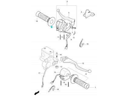 [2] Spínací ovládání levé / stříbrné (rukojeti, páčky a ovládání) - Hyosung GF 125