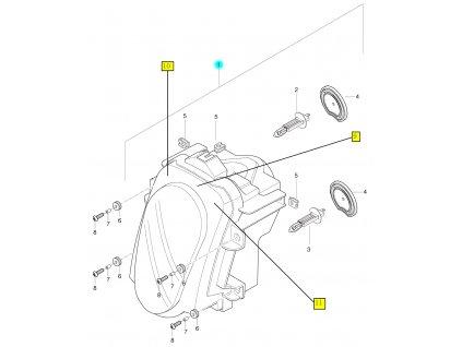 [1] Světlomet kompletní (přední světlomet) - Hyosung GT 650 R TTC