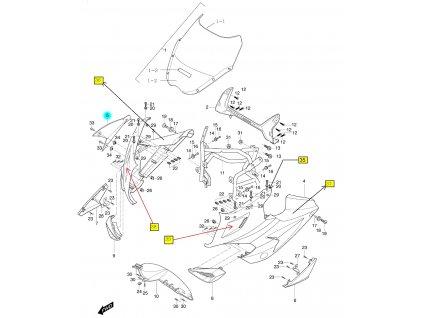 [5] Kapota přední pravá / červená (kapotáž přední horní) - Hyosung GT 650 R TTC