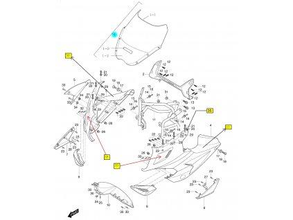 [1] Přední plexi kompletní / černé (FIG36) - Hyosung GT 650 R TTC