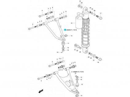 [1] Rameno levé horní kompletní (FIG47) - Hyosung 450 Sport