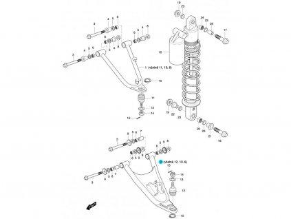 [2] Rameno levé spodní kompletní (FIG47) - Hyosung 450 Sport