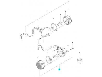 [2] Blinkr levý zadní kompletní (FIG24) - Hyosung GV 125 M E3