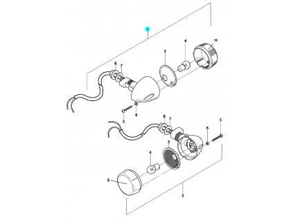 [1] Blinkr pravý zadní kompletní (ukazatel směru zadní) - Hyosung GV 650