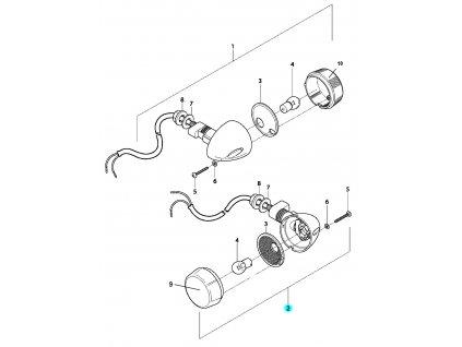 [2] Blinkr levý zadní kompletní (ukazatel směru zadní) - Hyosung GV 650