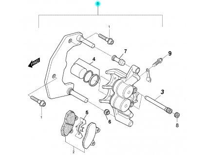 [0] Brzdový třmen přední kompletní (FIG39) - Hyosung RX 125