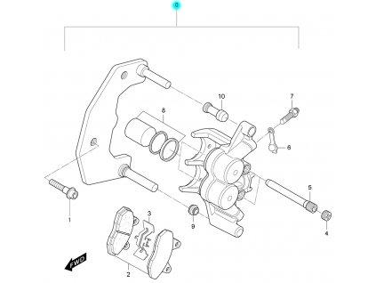 [0] Brzdový třmen přední kompletní (brzdič přední) - Hyosung RX 125 D E3