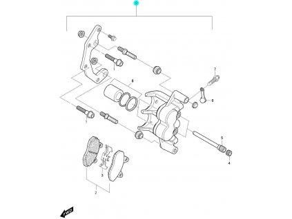 [0] Brzdový třmen přední levý kompletní / nová verze (FIG44) - Hyosung GV 650