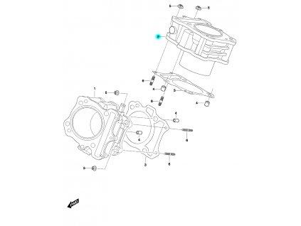 [2] Válec zadní (bez sekundárního vzduchu) (válce) - Hyosung GT 650 N