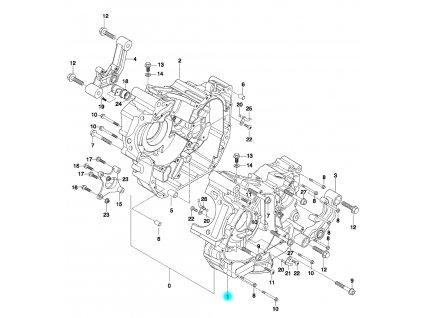 [1] Skříň klikového hřídele levá (skříň klikového hřídele) - Hyosung GT 650 N