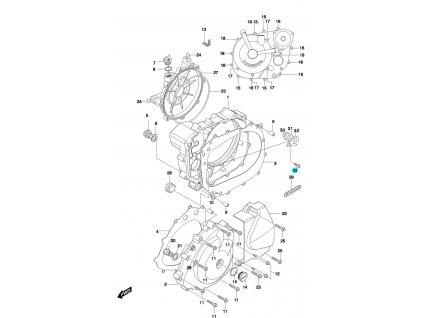 [33] Šroub (motor - kryty skříně) - Hyosung GT 650 N
