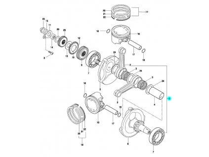 [1] Klikový hřídel kompletní (klikový hřídel & píst) - Hyosung GT 650 N