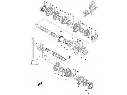 [30] Řetězové ozubené kolo 14T / rozeta (FIG19) - Hyosung GT 650 N