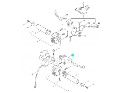 [13] Páčka přední brzdy / nová verze (FIG40) - Hyosung GA 125 Cruise 2