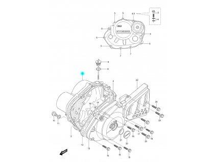 [1] Boční kryt motoru (motor - kryty skříně) - Hyosung RX 125