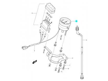 [1] Ukazatel rychlosti (tachometr) - Hyosung RX 125