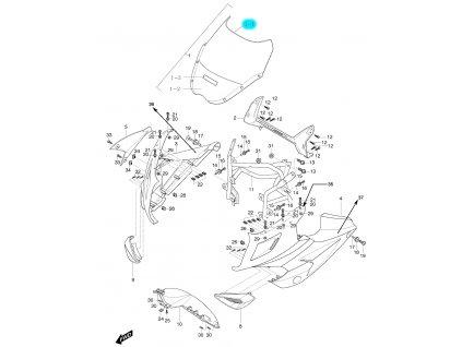 [1-1] Přední plexi / čiré (FIG48) - Hyosung GT 125 R