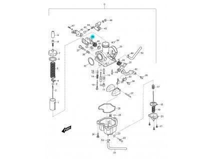 [39] Kolébka ovládání čerpadla (karburátor) - Hyosung RX 125