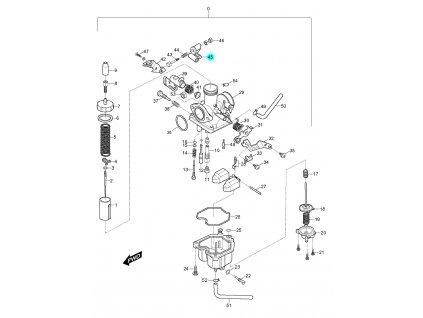 [45] Páčka ovládání čerpadla (karburátor) - Hyosung RX 125
