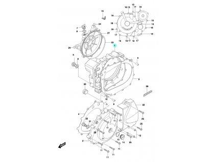 [1] Boční kryt motoru / černý (FIG05) - Hyosung GT 650 N