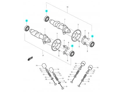 [2] Ložisko (vačkový hřídel / ventilový pohon zadní) - Hyosung GV 250