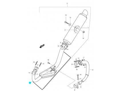 [3] Koleno výfuku s výfukovým svodem 14150HM7970PAM (výfuk) - Hyosung GT 125 N