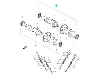[17] Vačkový hřídel výfukový kompletní (vačkový hřídel / ventilový pohon přední) - Hyosung GV 250
