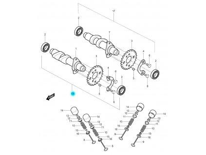 [18] Vačkový hřídel sací kompletní (vačkový hřídel / ventilový pohon přední) - Hyosung GV 250