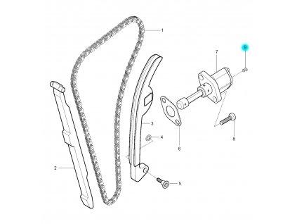 [9] Šroub k napínáku 27 mm (rozvodový řetěz) - Hyosung GV 250