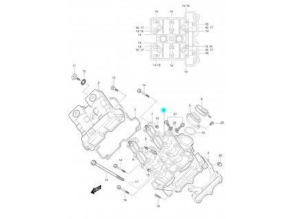 [1] Hlava válce kompletní včetně ventilů (hlava předního válce) - Hyosung GT 650 S & R