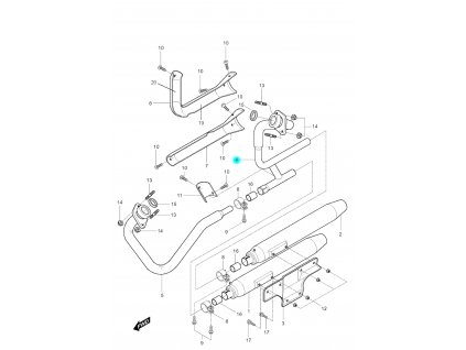 [4] Potrubí výfuku zadní (výfuk) - Hyosung GV 250