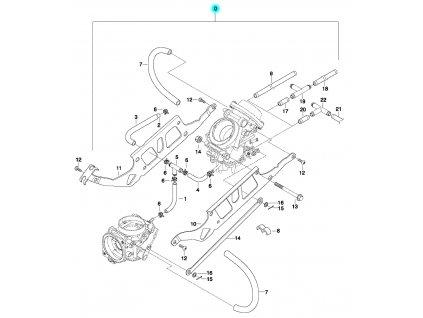 [0] Karburátory kompletní (držák a připojení karburátoru) - Hyosung GT 650 N
