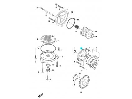 [2] Ozubené kolo (olejové čerpadlo a filtr) - Hyosung GT 650 N