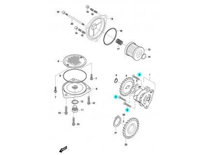 [5] Šroub (olejové čerpadlo a filtr) - Hyosung GT 650 N