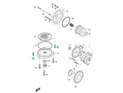[7] Šroub (olejové čerpadlo a filtr) - Hyosung GT 650 N