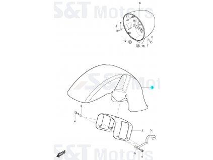 [1] Blatník přední / červený (blatník a držák světlometu) - Hyosung ST 700i