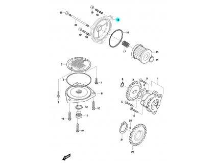[15] Víčko olejového filtru (olejové čerpadlo a filtr) - Hyosung GT 650 N