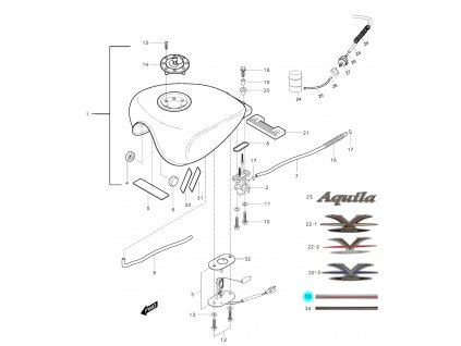 [33] Samolepa / barevná linka (FIG31) - Hyosung GV 250