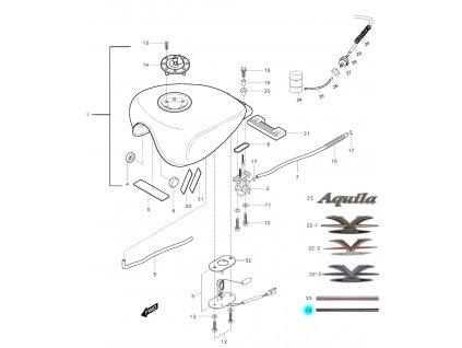 [34] Samolepa / barevná linka (palivová nádrž) - Hyosung GV 250