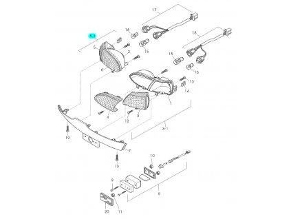 [5-1] Zadní světlo levé kompletní (zadní osvětlení kombinované) - Hyosung GPS 125 Hyper / Grand Prix