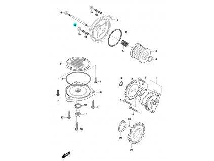 [20] Šroub závrtný (olejové čerpadlo a filtr) - Hyosung GT 650 N