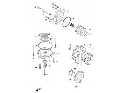 [24] Kolík (olejové čerpadlo a filtr) - Hyosung GT 650 N