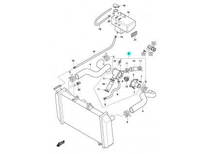 [0] Termostat kompletní (hadice chlazení & vyrovnávací nádržka) - Hyosung GT 650 N