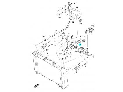 [2] Pouzdro termostatu (hadice chlazení & vyrovnávací nádržka) - Hyosung GT 650 N
